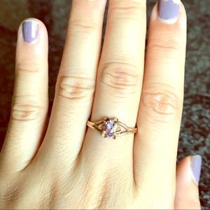 Solid 10k amethyst ring yellow gold nice